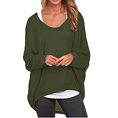 ZANZEA Women's Batwing Sleeve Off Shoulder Loose Oversized Baggy Tops Sweater Pullover Casual Blouse T-Shirt at Women's Clothing store
