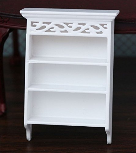 (Dollhouse Miniature White Hand Carved Wall Shelf w/ Crown Molding )