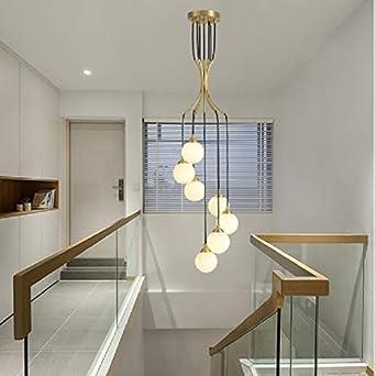 GzPuluz luces colgantes 7 Jefes Moderno Ambiente minimalista giratoria Dúplex Edificio escalera larga de la lámpara (luz blanca cálida) (Color : White Light): Amazon.es: Iluminación