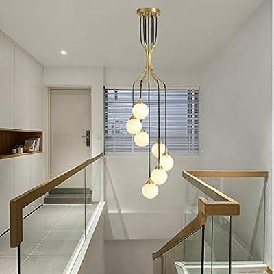 GXEXG luz Lámparas para Sala de Estar, 7 Jefes Moderna Minimalista Ambiente giratoria Edificio Dúplex Escalera Larga de la lámpara de iluminación Lámparas (luz Blanca cálida) (Color : Warm White): Amazon.es: Hogar