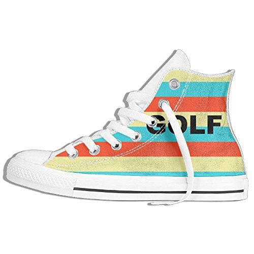 Classiche Sneakers Alte Scarpe Di Tela Antiscivolo Golf Strisce Colorate Casual Da Passeggio Per Uomo Donna Bianco