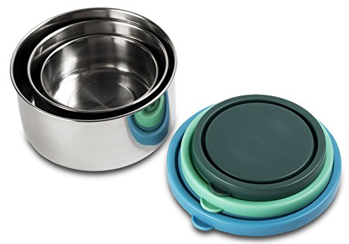 MIRA Set of 3 Stainless Steel lunch box and food storage containers, Multi Color (Carrier Sandwich)