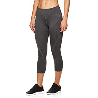 Reebok Women's Printed Capri Leggings with Mid-Rise Waist Cropped Performance Compression Tights - Charcoal Heather, Large