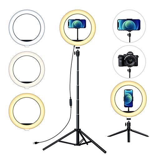aifulo Aro de Luz con Trípode LED 10'',Anillo de Luz LED 3 Mode de luz Ajustable 10 Brillo Niveles,Trípode de Tierra 150cm Ajustable.Maquillaje Youtube Tiktok Fotografía Compatible con iOS Android