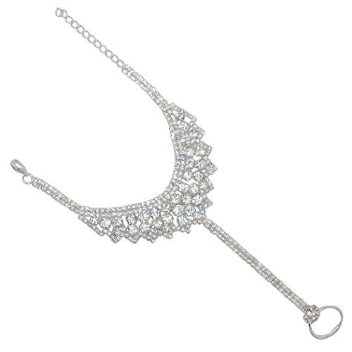 Harness Collection - Rosemarie Collections Women's Sparkling Crystal Rhinestone Hand Chain Bracelet and Ring