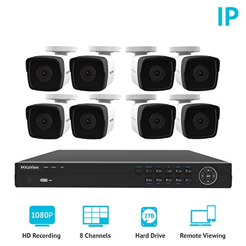 LaView 1080P 2MP IP 8 Channel PoE NVR Security Surveillance System with 8 IP Bullet HD 1080P Night Vision Indoor/Outdoor Security Cameras, 2 TB HDD