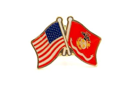 US Marine Corps USMC EGA Flag And USA Flag Crossed Lapel Hat Pin Military PPM642