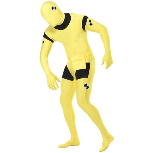 Smiffys Adult Unisex Crash Dummy Second Skin Costume, Bum bag, Concealed Fly and Under Chin Opening, Second Skin, Serious Fun, Size X, 23709 -