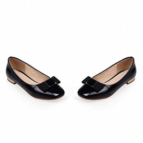 Charme Pied Femmes Doux Arcs Talon Bas Confort Appartements Chaussures Noir
