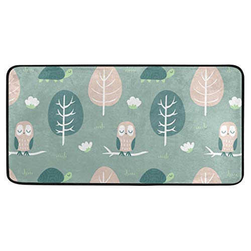 Custom Collection Owl Turtle Malachite Green Rugs Area Rugs Reggie Artwork Collection for Living Room,Entryway,Bedroom and Dining Room