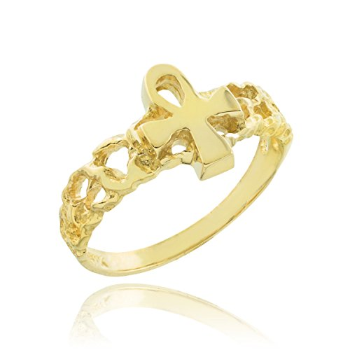 (Solid 10k Yellow Gold Nugget Band Egyptian Ankh Cross Knuckle Ring, Size 4)