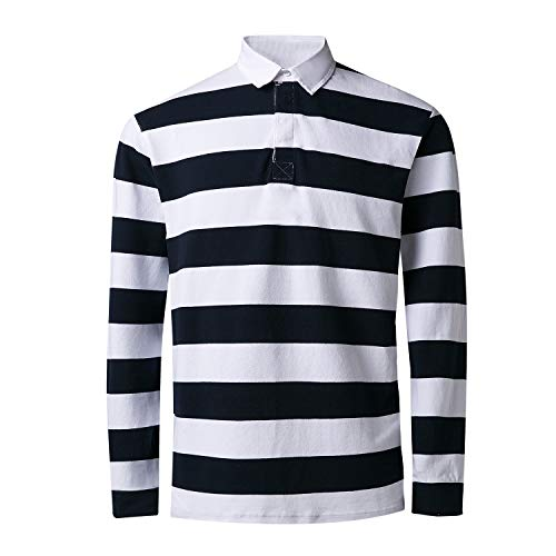 (Long Sleeve T Shirt Mens Casual Striped Classic Cotton Standing Collar Cotton Polo Henley Shirt (Large, Navy/White))