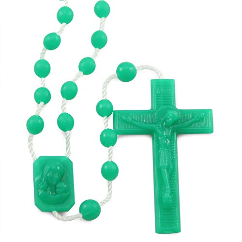 Green Plastic Beads Rosary and Madonna and Child Center, 25 Pack