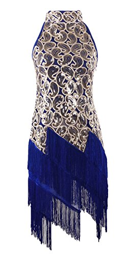 [JustinCostume 1920s Sequined Retro Pattern Flapper Dress Halloween Costume Blue L] (Sixties Costumes Ideas)