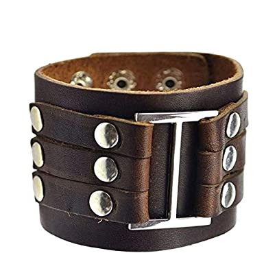 XIAOHA Men S Bracelet Vintage Genuine Leather Wide Cuff Men S Bracelet Punk Ornament Bangle Male Wristbands Gift Fashion Jewelry Accessories Estimated Price £17.99 -