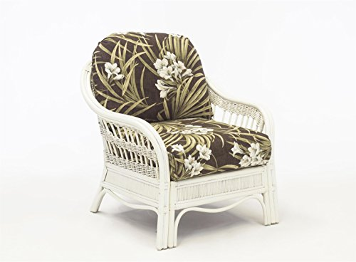 South Sea Rattan Bermuda Chair in WhiteWash Finish, Vera Cruz Fossil (Bermuda Rattan)
