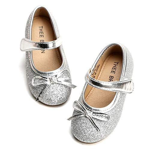 THEE BRON Girl's Toddler/Little Kid Ballet Mary Jane Flat Shoes (9M US Toddler, Lg03 Silver) (Flat Glittery Shoes)