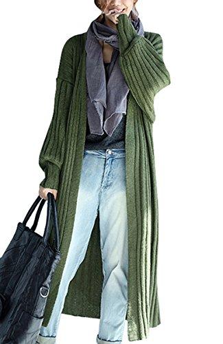 ELLAZHU Women Casual Soft V Neck Open Long Sleeve Knit Cardigan Sweater GA538 Green