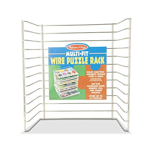 "Melissa & Doug Multi-Fit Metal Wire Puzzle Rack For up to A Dozen 12""-Wide, 0.75"" Deep Wooden Puzzles"