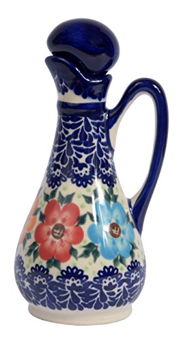 Traditional Polish Pottery, Handcrafted Ceramic Olive Oil or Vinegar Bottle 160ml, Boleslawiec Style Pattern, V.401.BLUELACE