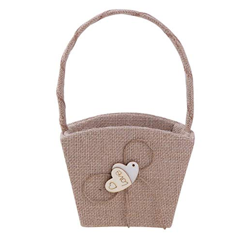 Agordo Wood Double Heart Handheld Girl Empty Flower Basket Wedding Ceremony Party Decor by Agordo (Image #3)