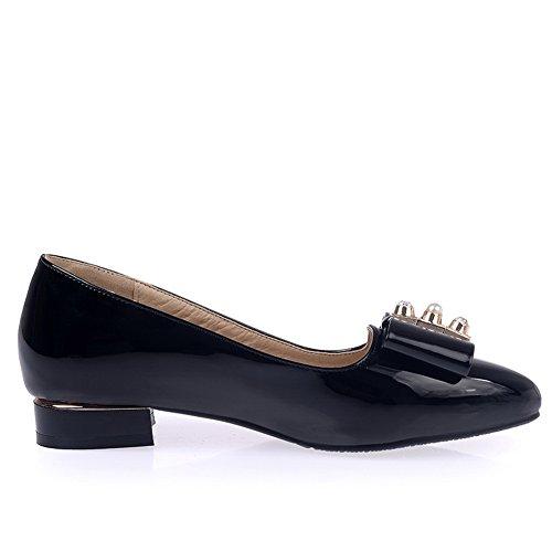 toe enfiler Mesdames pointed avec en shoes nœud en balamasa brevet à pumps Noir métal cuir 4a8wZYq