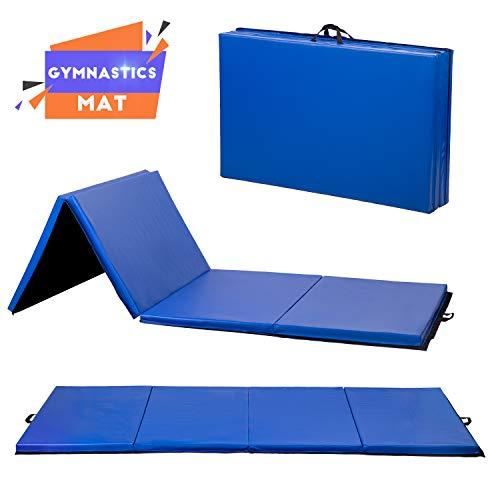 Grappling Mats - BestMassage Gymnastics Mat Gym Mat Tumbling Mat 4 Pannel Foldding Lightweight Gymnastic Tumbling Mat Thick Yoga Exercise Mat 4'x8'x2 Home Gym Mat