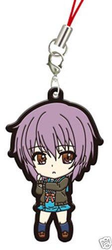 """BANDAI Haruhi Suzumiya Manga Rubber Mascot Phone Strap ~2.5"""" - Yuki Nagato"""