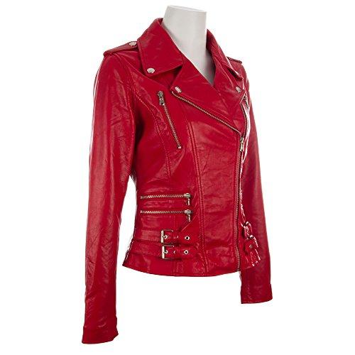 pelle donna autentica rosso cerniere con motociclista da multiple Giacca in Aviatrix Cwxq1ZtI