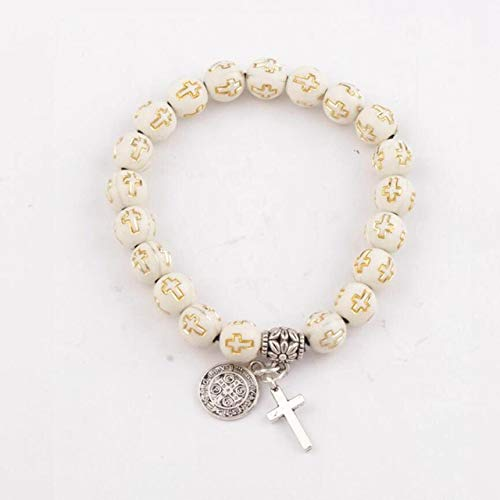 (Gabcus Saint Benedict Evil Protection Medal Cross Charm Spring Beaded Bracelets 14Colors Acrylic Hollow Cross 8mm Round Bracelet BB45 - (Metal Color: 10))