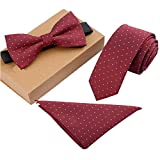 Lanburch Fashionable Premium Formal/Informal Ties Set, Necktie/Bow Tie/Pocket Square for Mens/Boys, Wine Dots