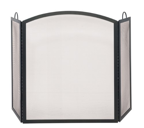 Uniflame S-1506 3 Fold Black Wrought Iron Arch Top Medium Screen