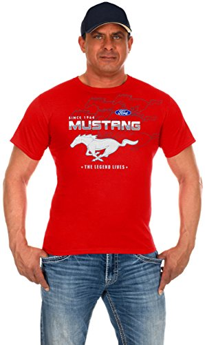 JH Design Men's Ford Mustang Red Collage Short Sleeve Crew Neck T-Shirt (Large, -