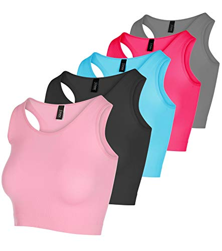 Unique Styles 5 Crop Tops for Women - Layering Ribbed Racerback Tank Tops Pack (Medium/Large, Black/Pink/Grey/Turquoise/Hot Pink)