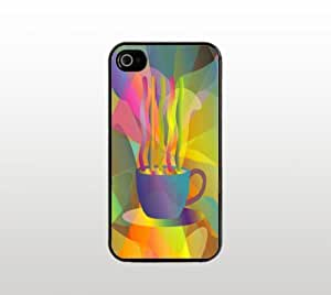 Coffee Snap-On Case for Apple iPhone 4 4s - Hard Plastic - Black - Cool Custom Cover - Abstract Art