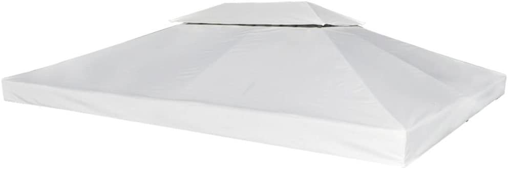 mewmewcat Toldo Terraza 3 x 4 M Cubierta de Gazebo Reemplazo de Dosel Color Blanco Crema 270 G/M²
