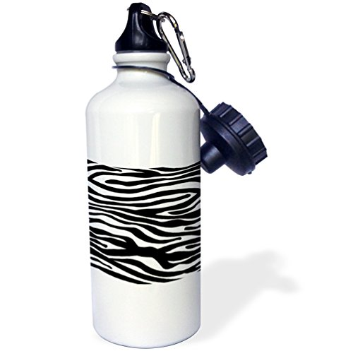 3dRose wb_56676_1 Black and White Zebra Stripe Print Pattern-Animal Print Collection-Funky and Groovy Sports Water Bottle, 21 oz, White by 3dRose