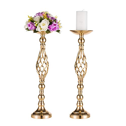 Sfeexun Pcs of 2 Elegant Tall Twist Wedding Flower Column Display Metal Standing Flower Arrangement Pedestals As Road Lead Flower Stand for Wedding Party Birthday Events (2x23.2 H, Twist Style) (Elegant Tables For Centerpieces)
