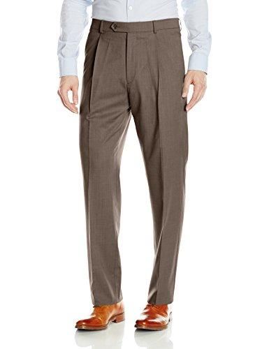 (Hart Schaffner Marx Men's Single Pleat Chicago Fit Dress Pant, Brown, 38 Regular)