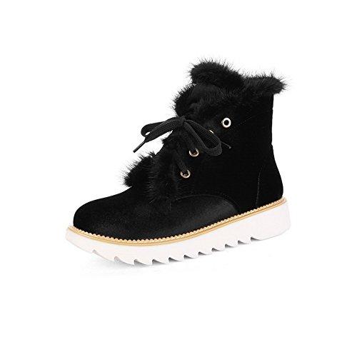 BalaMasa Womens Casual Slip-Resistant Tassels Suede Boots ABL09954 Black tJFAA1
