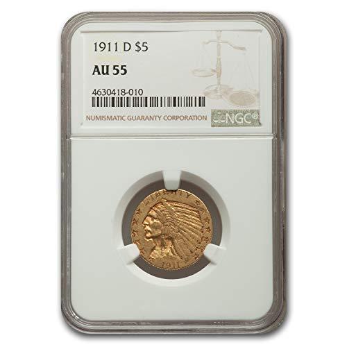 1911 D $5 Indian Gold Half Eagle AU-55 NGC G$5 AU-55 NGC