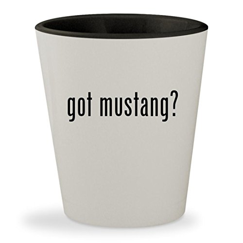 04 Mustang Saleen Supercharger (got mustang? - White Outer & Black Inner Ceramic 1.5oz Shot Glass)
