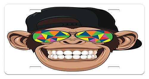 zaeshe3536658 Cartoon License Plate, Fun Hipster Monkey with Colorful Sunglasses and Hat Rapper Hippie Ape Art, High Gloss Aluminum Novelty Plate, 6 X 12 Inches.