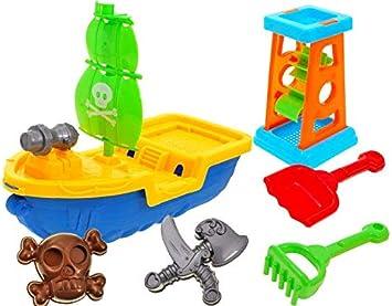 Juguete de Jardín y Playa - Set de Juguete de Arena con Moldes de Arena y Barco Pirata: Amazon.es: Juguetes y juegos