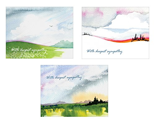 Sympathy Cards - With Deepest Sympathy - Boxed Set of Bulk Assorted Blank Condolence Cards and Envelopes