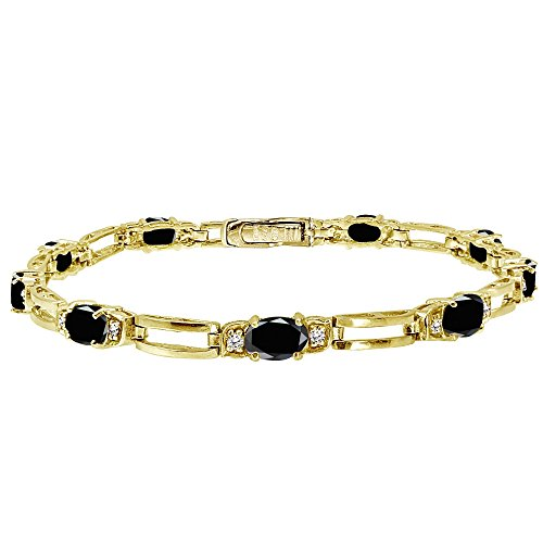 Ice Gems Yellow Gold Flashed Sterling Silver Genuine or Created Gemstone and Cubic Zirconia Oval Bar Link Bracelet
