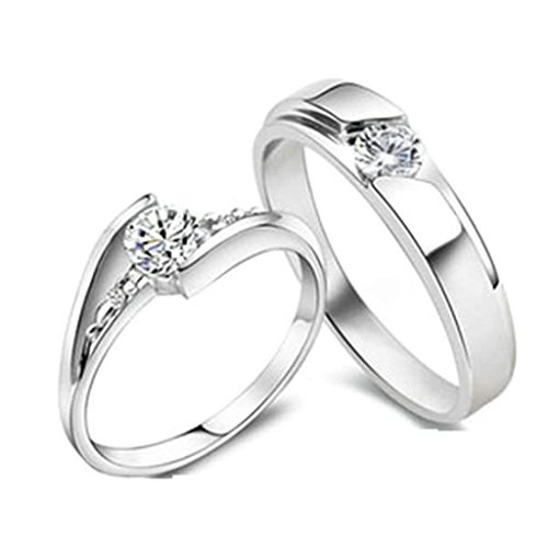 Gnzoe Men Engagement Rings Drill Cubic Zirconia Rings Eternity 4mm/5mm, Silver (Price One Pc)