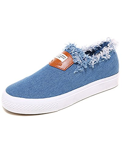 Minetom Mujer Chicas Moda Mezclilla Lona Zapatos Piso Zapatos Alpargatas Ocio Zapatos Del Holgazán azul