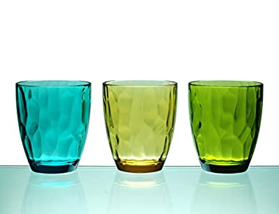 QG 14 Ounce Set of 6 Acrylic Plastic Rocks Glass Tumbler in 3 Assorted Colors DF141