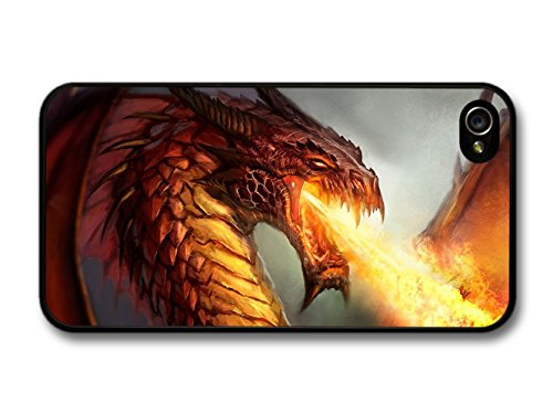 New Goth Scary Dark Golden Dragon and Flames Tattoo Artwork case for iPhone 4 4S